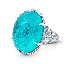 Brazilian Paraiba Tourmaline and Diamond Ring by Martin Katz. #Paraibatourmaline #diamonds #teal #jewelry #ring