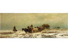 GROSSER ZUG VON PACKWAGEN IN RUSSISCHER SCHNEELANDSCHAFT Öl auf Leinwand. 29 x 75 cm. Links unten signiert. Im Zentrum ein Planwagen, von acht Pferden...