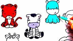 draw animals zoo drawing simple coloring zebra tiger easy animal drawings lion giraffe cartoon animation labelhqs