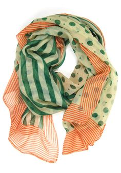 Line & Dot Scarf: Green/Orange