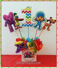 POcoyo Centerpiece Characters GoPartyFiesta Baby Boy 1st Birthday Party, Birthday Numbers, 1st Boy Birthday, Birthday Diy, 3rd Birthday Parties, Birthday Ideas, Birthday Cake, Birthday Centerpieces, Birthday Decorations