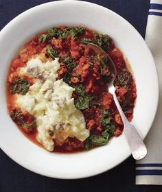 Slow Cooker Sausage and Kale Stew with Olive Oil Mashed Potatoes (use spicy sausage or add CRP)