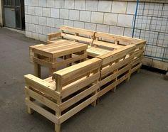 handmade pallet L-shape patio sofa set