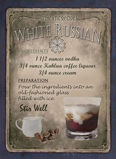 White Russian Cocktail Recipe,Cafe Pub, Man Shed,Home Decor:Metal Sign Gift Liquor Drinks, Cocktail Drinks, Beverages, Amaretto Drinks, Refreshing Cocktails, Fancy Drinks, Summer Drinks, White Russian Cocktail, Alcholic Drinks