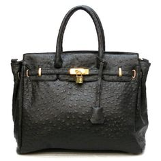 Amazon.com: Designer Inspired London Office Tote Ostrich Finish - Black 39.00