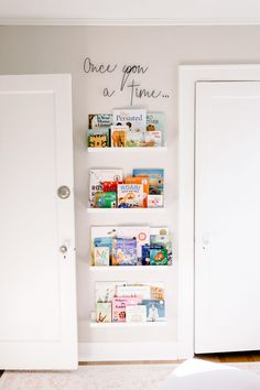 Whimsical Floral Nursery Wall Bookshelves What great use of a small section of wall in a nursery—a perfect spot for wall bookshelves. Baby Room Design, Baby Room Decor, Baby Bedroom, Nursery Design, Girls Room Design, Baby Room Art, Playroom Design, Baby Bedding, Nursery Decor