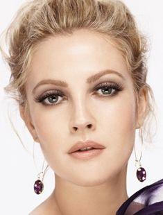 Drew Barrymore. nude lip + smokey eye = wedding makeup.