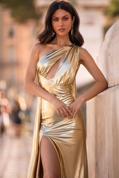 Aryanna - Gold Metallic One Shoulder Cape Sleeve Gown with Side Slit Gala Dresses, Satin Dresses, Dress Outfits, Fashion Outfits, Gold Gown, Gold Dress, Beautiful Girl Image, Gorgeous Women, Silky Dress