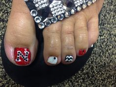 Nebraska Nails Huskers Chevron Toenail Art Pedi Polish Red And Black