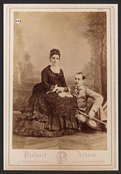 Lord and Lady Randolph Churchill c. 1874 (Sir Winston Churchill's parents) with a cavalier king
