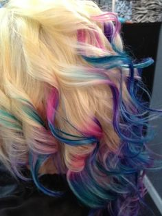rainbow wavy hair! Totally want to try it!! Uhh pretty sure this isn't appropriate for my big girl job though :(