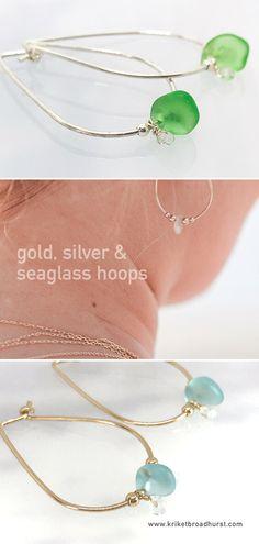 57157abc807 Designed and handmade by Kriket Broadhurst in her Sydney studio, these  beautiful seaglass hoop earrings