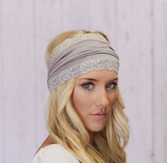 Lacey Jersey Headband Wide Hair Covering in Silver Gray (JL01). $24.50, via Etsy.