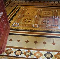 A lovely hex mosaic entry to a Queen Anne style, Victorian era home.  Gorgeous.
