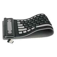 Increase your precious carry-on space and be more efficient while on the go by bringing along this silicone roll-up keyboard. This wireless equipped QWERTY keyboard wraps up into a tight compact packa