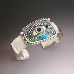 Sterling Silver Blue Eye Cuff Bracelet with by LizardsJewelry,
