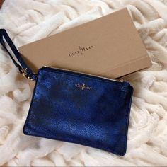 🔻PRICE DROP🔻NWOT Cole Haan leather wristlet Never used NWOT Cole Haan sapphire blue distressed leather wristlet comes with box :) Cole Haan Bags Clutches & Wristlets