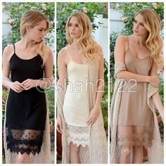 "New lace slip dress tunic top extender midi cami ❌Price IS FIRM UNLESS BUNDLED❌ Add some length to short mini dress or top tunic sweater with this beauty.Lace Cami extender slip dress tunic top.use as a slip dress or for layering 👉 3 colors to choose from BLACK, MOCHA OR IVORY Fabric : Modal and spandex.great stretch.  👉measurements  👉adjustable shoulder straps. ⭐️S : armpit to armpit :15"", length = 35"" ⭐️M :armpit to armpit :16"", length = 35.5"" ⭐️L: armpit to armpit :18"", length =36""…"