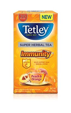 Tetley Super Herbal Tea Immunity Peach  Orange 20 Count Pack of 6 ** This is an Amazon Associate's Pin. To view further for this item, visit this Amazon Affiliate link.