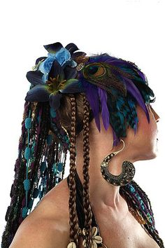 Peacock feather FASCINATOR headpiece BELLY DANCE Tribal Fusion GOA PSYCHEDELIC | eBay