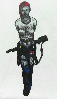 #drawing #art #pen #marker #copic #micron #woman #punk #gun #unionjack #sidecut