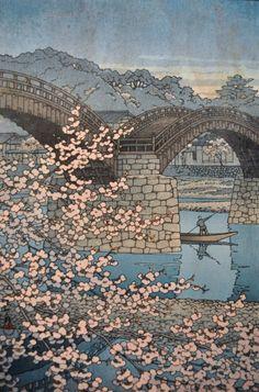 "RARE KAWASE HASUI JAPANESE UKIYO-E WOODBLOCK PRINT ""KINTAIKYO BRIDGE"" 1947"