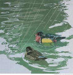 Linocut-Shower-With-a-Friend-wood-ducks-©SherrieYork