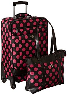 American Tourister Color Your World 2 TwoPiece Set Shopper Spinner 21 BlackPink Polka Dots One Size * Read more at the image link. Cheap Luggage, Luggage Sale, Luggage Online, Best Travel Luggage, Samsonite Luggage, Checked Luggage, Old Suitcases, Two Piece Sets, Pink Polka Dots