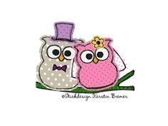 Hochzeits Eulen / Brautpaar Eulen Doodle Stickdatei. Wedding owls / bride and groom owls doodle Appliqué embroidery for embroidery machines.