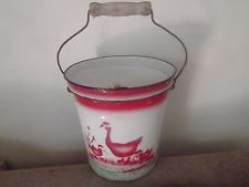 vintage rare  ENAMELWARE BUCKET slop bucket RED GEESE French Provincial PLANTER