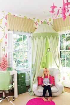 Clever Canopy - Style Guide: Kids' Rooms and Nurseries - Southernliving. Accent a comfy reading chair with a hanging canopy that creates a cozy hideaway.