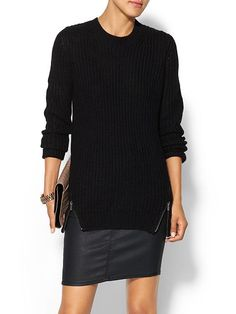 RD Style Oversize Double Zip Sweater - Black  Love zipper detail