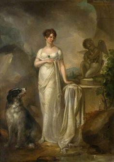 Jane Fleming Countess of Harrington by Peter Edward Stroehling (Thirlestane Castle - Lauder, Berwickshire, UK) Love My Dog, Jane Austen, Renaissance, Empire, Fashion Painting, Art Uk, Old Master, Dog Art, Female Art