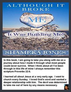 📚 Although It Broke Me It Was Building Me! by Shameka Jones ✍ Support and Connect with Author Shameka Jones ✍ Look inside the book and enjoy the author's unique writing style then leave a review.