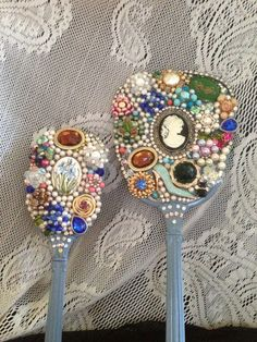 OOAK Hand Decorated Vintage Hand Mirror and Brush Set. Decorated with Vintage Costume Jewelry. on Etsy, $110.00