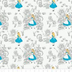 Alice In Wonderland Golden Afternoon Toile In Light Grey $13.50
