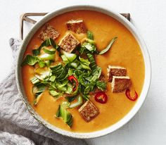 Red Curry Squash Soup With Tofu Croutons