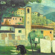 Panni al sole - Olio su cartone - 1923 - 46x55 Buildings, Laundry, Paintings, Art, Laundry Room, Art Background, Laundry Service, Paint, Painting Art
