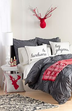 Red, white and gray bedroom set. So cute for the holidays. Different pillows for each time of the year or occasion. Decor, Room, Interior, Home, Home Bedroom, Awesome Bedrooms, Christmas Bedroom, Grey Bedroom Set, Bedroom Decor