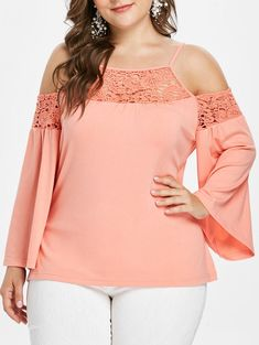 Plus Size Womens Sexy Hollow Out Lace Tops Bell Long Sleeve Blouse Cold Shoulder Plus Size Blouses, Plus Size Dresses, Plus Size Outfits, Fashion Wear, Cute Fashion, Fashion Night, Plus Size Womens Clothing, Plus Size Fashion, Moda Xl