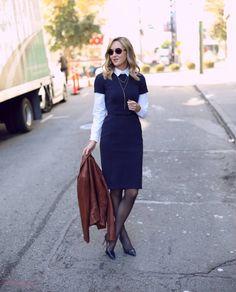 Office Fashion, Work Fashion, Street Fashion, Shirt Under Dress, Dress Shirt, Jw Mode, Black And White Outfit, Mode Pop, Nice Dresses