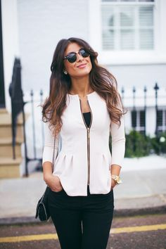 Latest fashion trends: Street style | Collarless white peplum balzer over black outfit