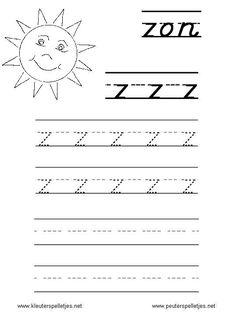 LETTER Z   letters leren herkennen en schrijven, alfabet printbladen a t/m z