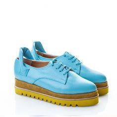 Pantofi piele bleu