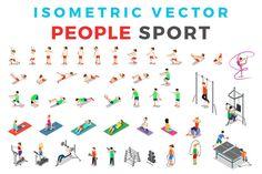 Vector Sport People Isometric Flat by Sentavio on @creativemarket
