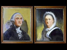 Lot # : 4 - George & Martha Washington, Mathew Prior, 19th C. Pair of reverse painted glass portraits of George and Martha Washington. William Matthew Prior (American, 1806-1873) in their original wooden frames. Circa 1850. (27.5 H x 23.5 W) WWW.JJAMESAUCTIONS.COM