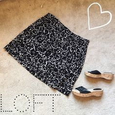 LOFT Black & White Cotton Skirt  Super soft and light, this black and white Ann Taylor skirt is in excellent condition and perfect for spring!   Pair with a simple top and cute shoes and you're ready to go   ✨ 100% Cotton ✨   NO TRADES!   ❗️But feel free to make an offer! ❗️ LOFT Skirts Midi