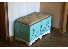 The Shabby Tulip: My pretty little Entryway & DIY Trunk Bench I thnk i can do this!