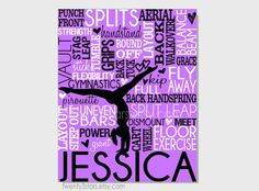 gymnastics typography canvas or art print girls room art choose any colors gift for gymnast gymnastics team or coach canvas art print