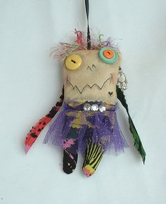 Mini Monster Voodoo Doll  Ornament A1 by FromGramsHouse on Etsy